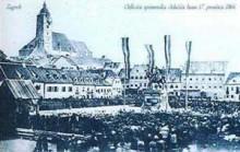 Stara razglednica Zagreba - spomenik Jelačića bana
